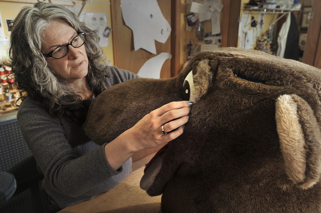 Colleen Writt works at a family business called Commercial Costumes in North Yarmouth making mascot costumes for a variety of Maine groups.