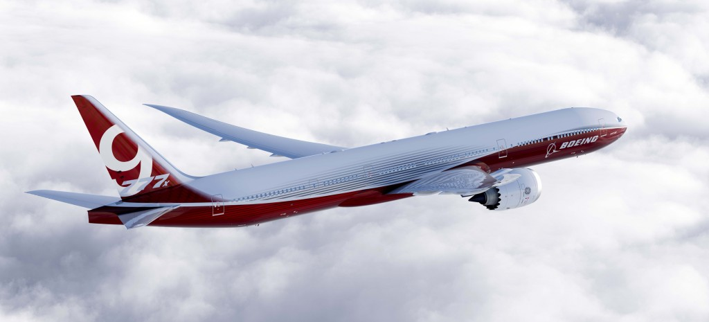In this artist's concept provided by The Boeing Co. is the 777-9X, the largest of the aerospace company's new family of 777X jetliners. Boeing currently has more than a dozen states in competition from coast to coast offering property, billions of dollars of tax breaks, favorable labor deals and customized employee training hoping that Boeing will choose them to assemble its new 777X jetliner.