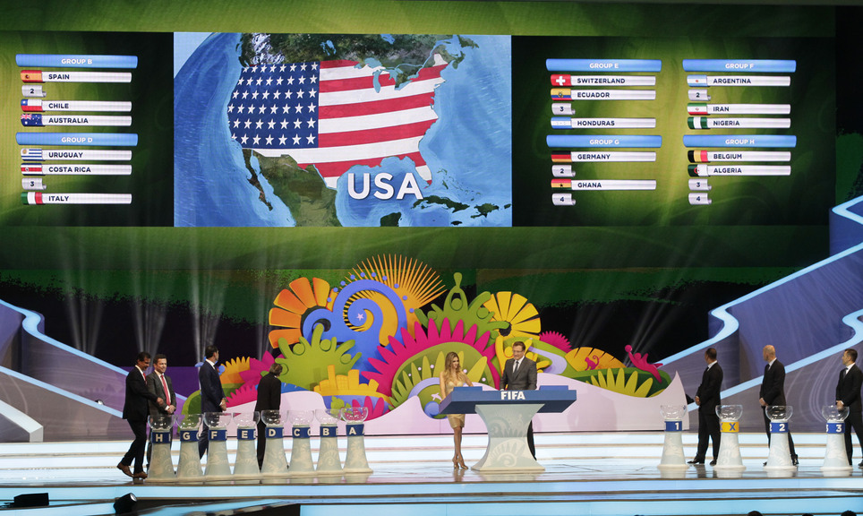 The fate of the United States soccer team is announced during the draw ceremony for the 2014 World Cup near Salvador, Brazil, Friday, Dec. 6, 2013.