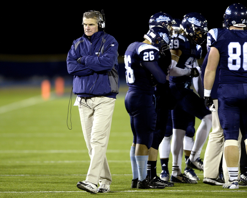 UMaine head coach Jack Cosgrove paced the field during a timeout in the Black Bears season-ending 41-27 loss against UNH at Alfond Stadium Saturday, Dec. 7, 2013. Cosgrove was named Co-Coach of the Year for Region 1 of the Football Championship Subdivision.