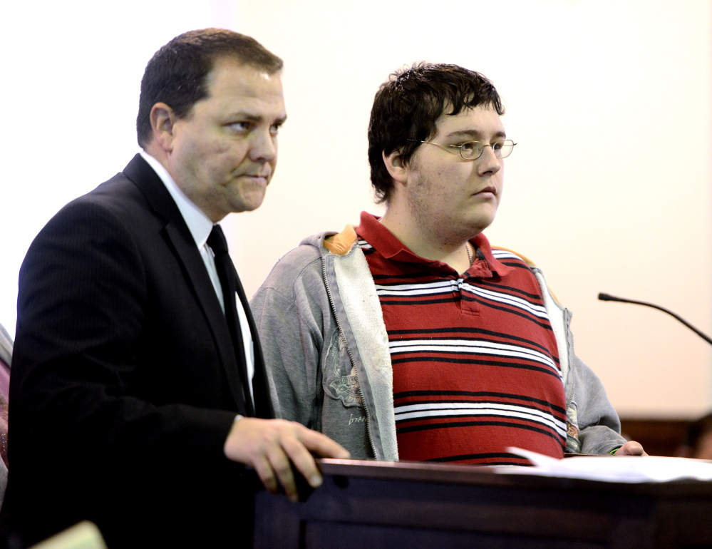 Attorney Curtis Rice stands with his client James Reynolds during arraignment at Oxford County Superior Court in South Paris on Friday.