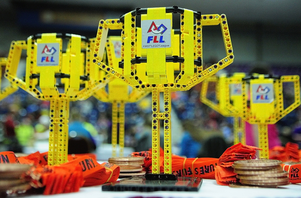 MEMENTOES: The trophies are made of LEGO at Maine's FIRST® LEGO® League Championship at the Augusta Civic Center on Saturday.