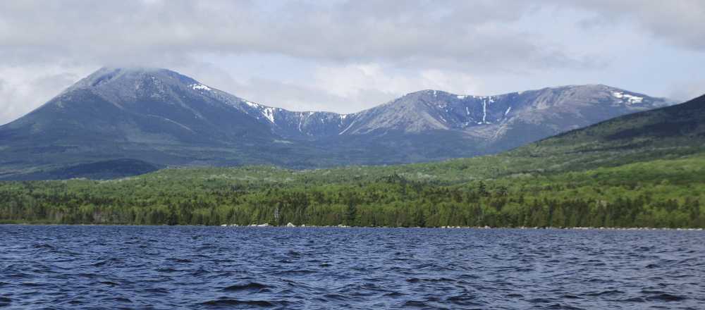 """The view of Mount Kathadin across Katahdin Lake in Baxter State Park. The Baxter Park Authority has accepted a conservation easement described by Park Director Jensen Bissell as """"the final piece of protection needed on Katahdin Lake."""""""