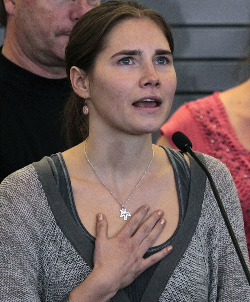 Amanda Knox speaks at a news conference shortly after her arrival from Italy at Seattle-Tacoma International Airport in Seattle in this Oct. 4, 2011, photo. Knox spent four years in jail in Italy, from her arrest to her conviction in her first murder trial through her successful appeal. She ís now facing a second appeals trial, along with her former Italian boyfriend Raffaele Sollecito.