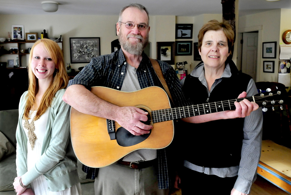 SONG TRIBUTE: Musicians Julie Churchill, left, and Stan and Liz Keach before singing Stan's song about Maine icon Donn Fendler, who was famously lost on Mount Katahdin as a child.