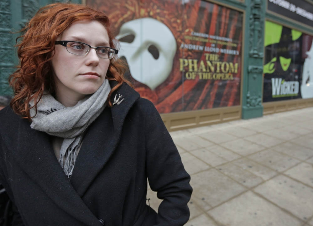Actor Adrienne Matzen poses in Chicago's theater district. Matzen, 29, who has been mostly uninsured since she turned 21, is now looking for a low monthly premium insurance plan on the federal website. High deductibles for health plans available on the Illinois insurance exchange may contribute to sticker shock when people start paying medical bills in 2014, if they have elected to pay for insurance under the Affordable Care Act.