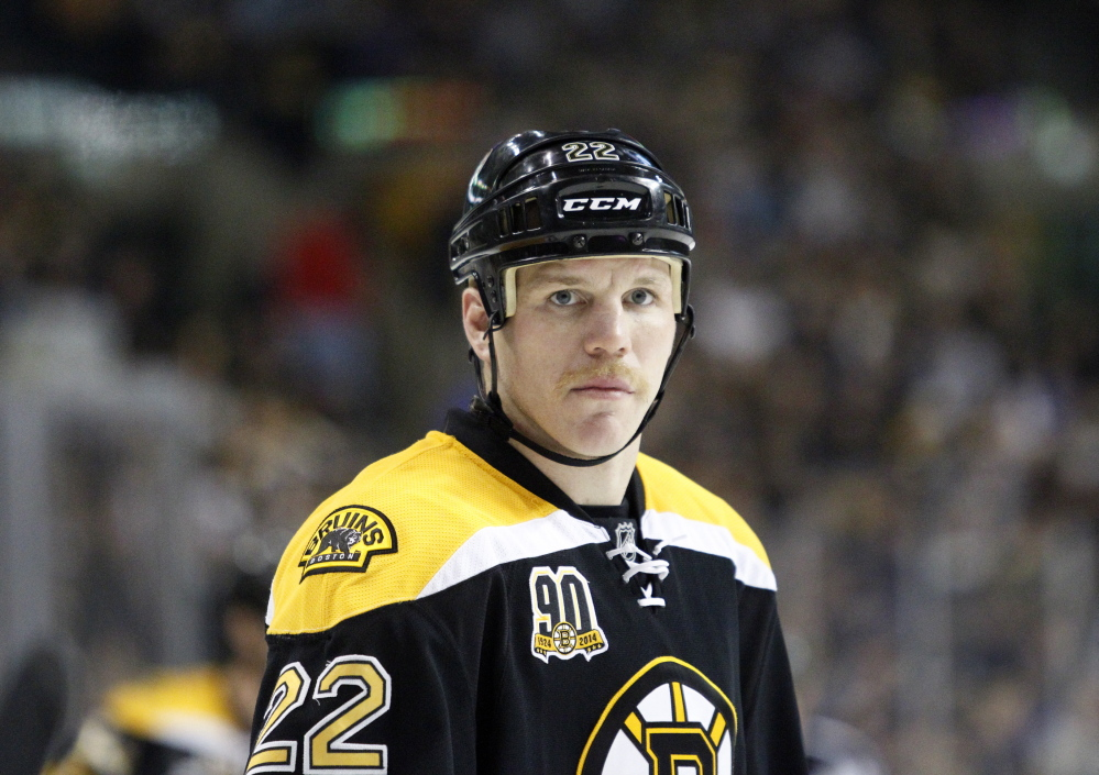 Boston Bruins right wing Shawn Thornton looks on during a break in the action in a game the Columbus Blue Jackets in Boston on Nov. 30, 2013.