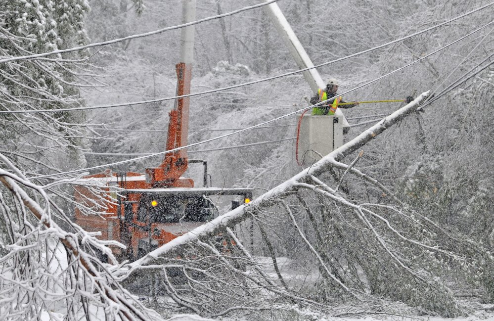 ICY RECOVERY: Carl Taylor, an arborist with Asplundh Tree Expert Co., frees a tree from the power lines on Maplehurst Road in Belgrade on Thursday, Dec. 26, 2013. Crews have been working around the clock this week to restore power to customers in central Maine.