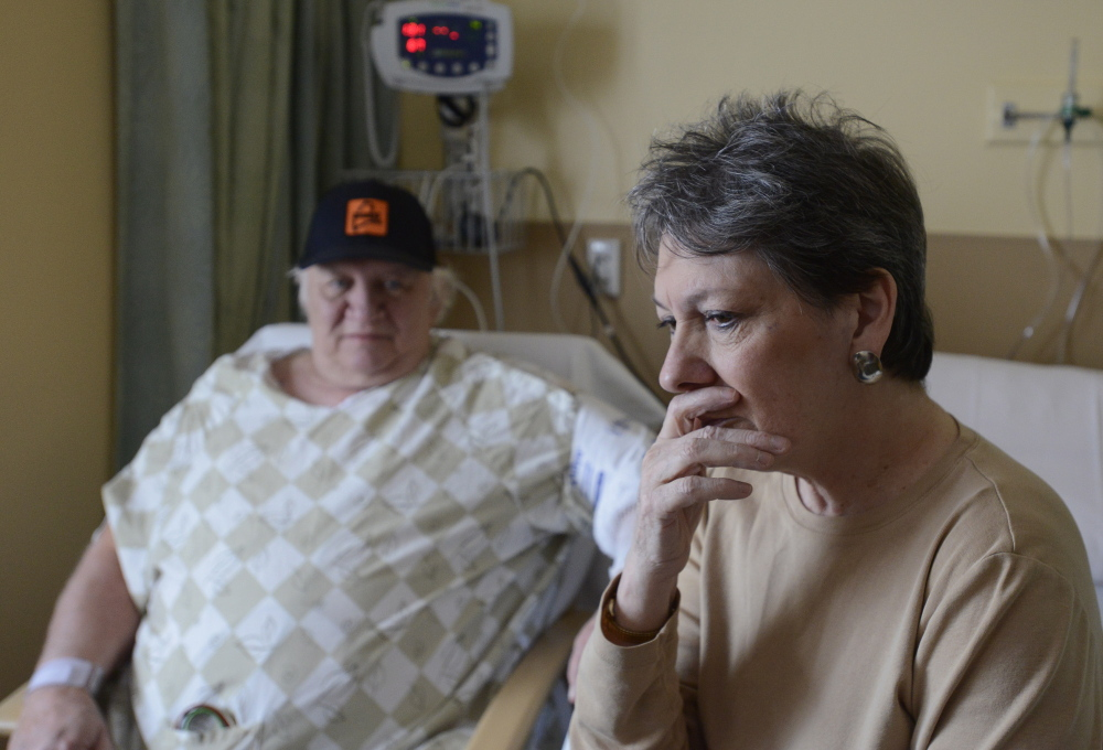 Richard Peacock is recovering at Maine Medical Center in Portland from a heart attack he suffered after escaping a fire that destroyed his home on Christmas Eve while his wife, Diane, was at work.