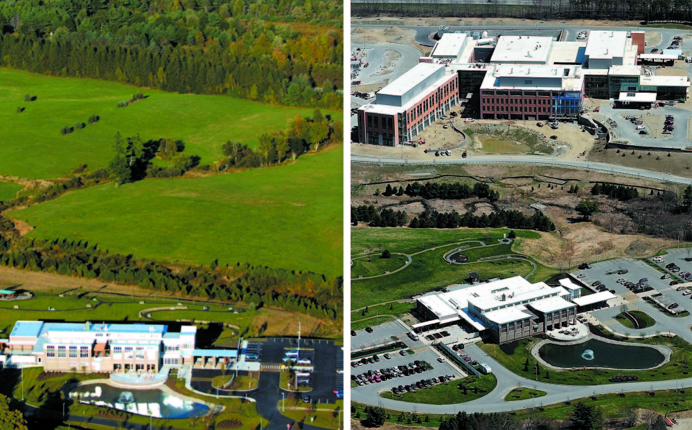 Nearly done: Left, a September 2007 file photo shows MaineGeneral Medical Center's Harold Alfond Center for Cancer Care in Augusta. Right, the new regional hospital is shown, in the background, nearing completion.
