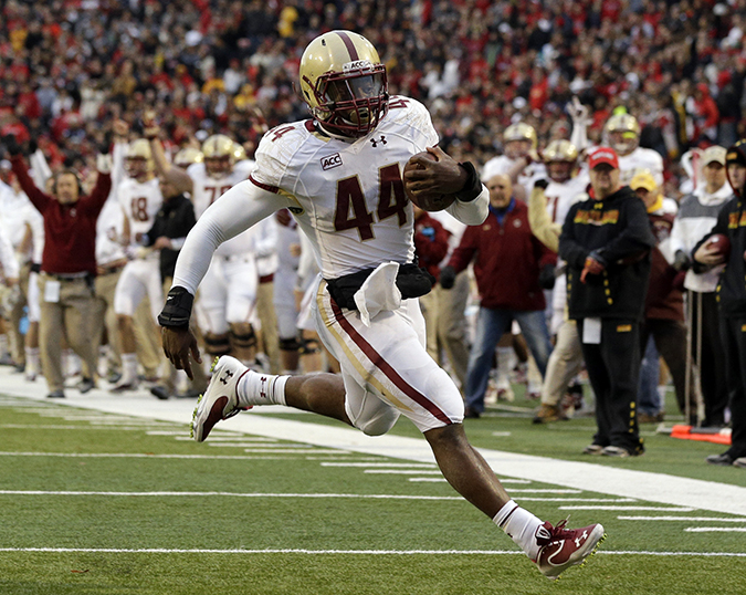 Boston College running back Andre Williams jogs into the end zone for a touchdown in the first half of a game against Maryland in College Park, Md. Williams was a finalist for the Heisman Trophy. Expect to see a lot of him as Boston College plays Arizona in the AdvoCare V100 Bowl.