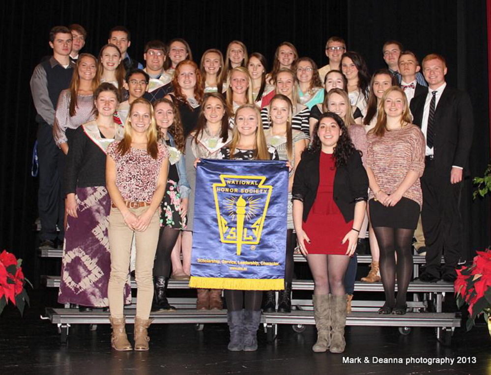 The National Honor Society at Cony High School recently named its new inductees. Pictured are returning members Alexis Dostie, president; Riley Hopkins, vice president; Peter Ackerman, secretary; Joshua Cormier, event coordinator; Nicolas Benner, Zachary Gagne, Josie Heath, Sarah Kaplan, Lindsay Lapierre, Brettany MacFarland, Sarah Smith and Joseph Wathen. New members include: Emily Bowers, Katie Carroll, Michayla Dostie, Katie Fenton, Isaac Gingras, Kate Johnson, Lauren Wheelock, Devin Beckim, Jillian Beland, Katelyn Bilodeau, Arika Brochu, Rebecca Coniff, Shaun Gallagher, Courtney King, Mary-Margaret Kirschner, Erica Laplante, Courtney Mills, Olivia Rancourt, Kelsey Rohman and Sydney Sansouci.