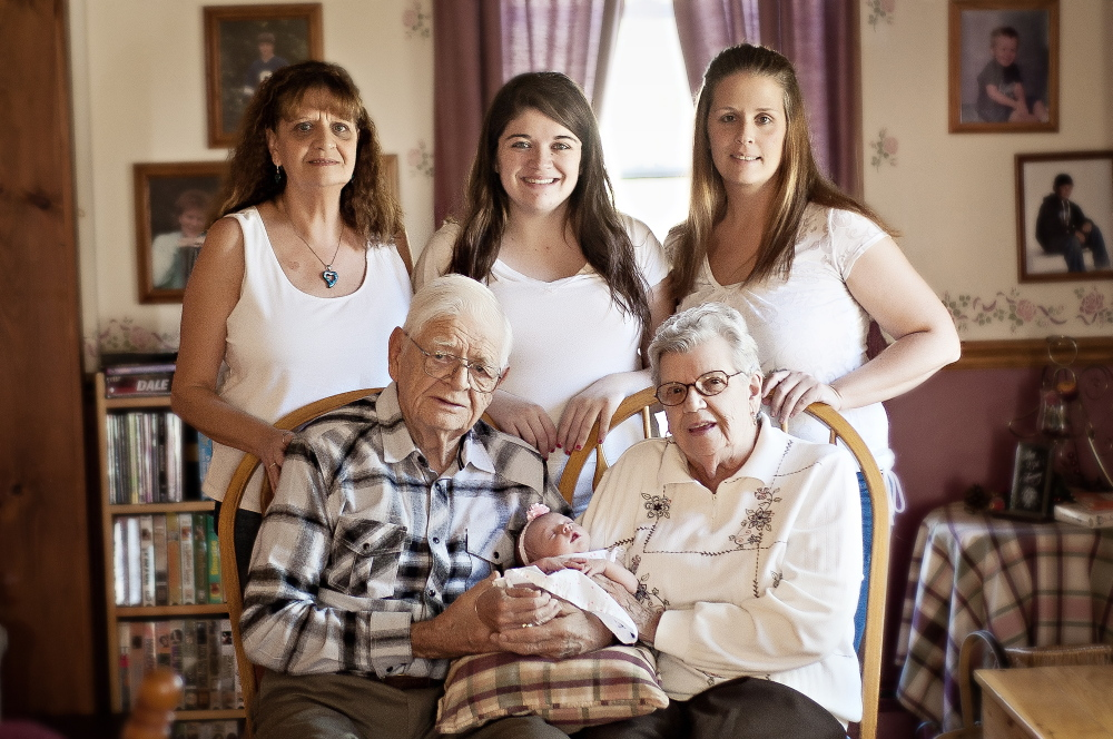 FAMILY PHOTO: The five generation photo includes Robert and Doris Garnder, of Benton, holding Elaina Knight, of Fairfield. In back, from left, is Elaine Higgins, of Fairfield, Brittny Knight, of Fairfield, and Rachel Woodbury, also of Fairfield.