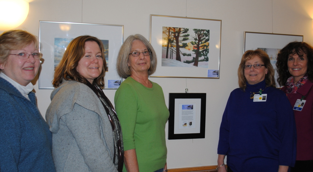 On exhibit: Valley Arts Alliance artists, from left, Pamela Newcomb, Grace Keown and Bonnie Ross; SVH President/CEO Teresa Vieira and SVH Director of Quality Sandi Delano.