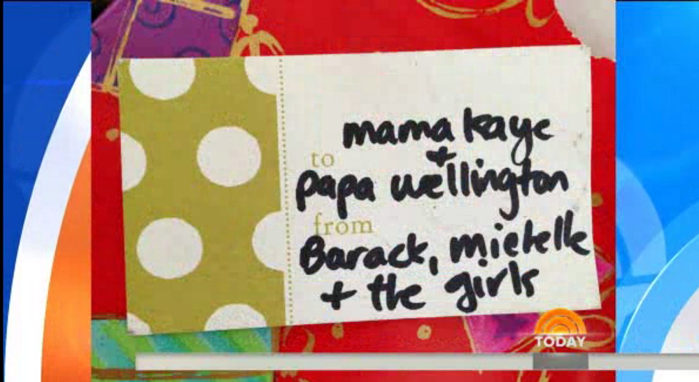 Screen image of Obama gift that made its way to the home of Alane Church.