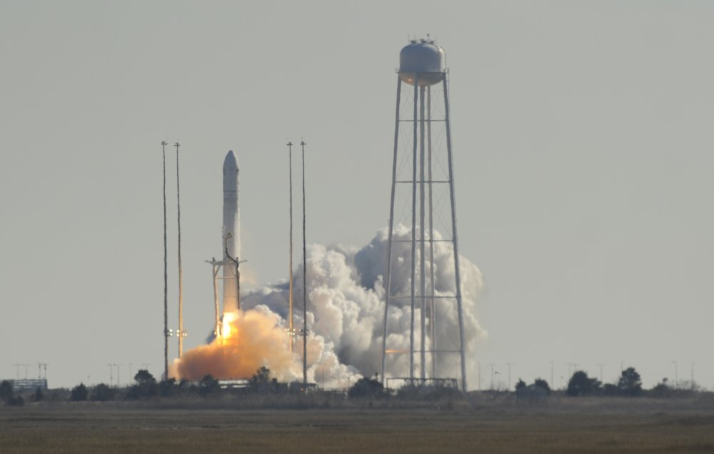 Orbital Science Corps.' Antares rocket launches from Wallops Flight Facility on Thursday in Wallops, Va. The rocket is carrying the company's first official re-supply mission to the International Space Station.