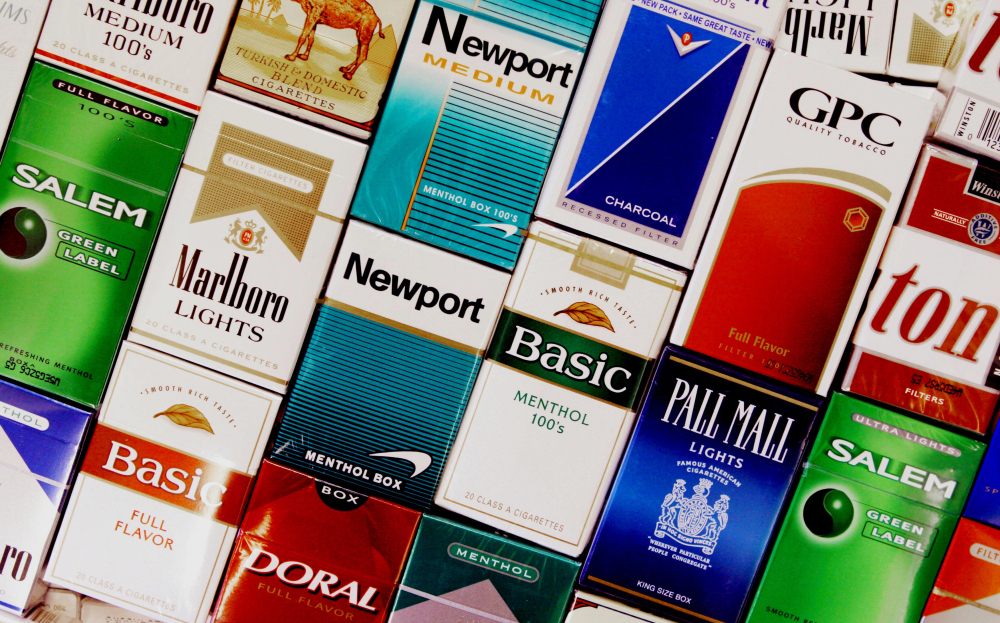 This 2005 photo shows packs of cigarettes in a store in Brunswick. Each day, more than 3,200 youths smoke their first cigarette.