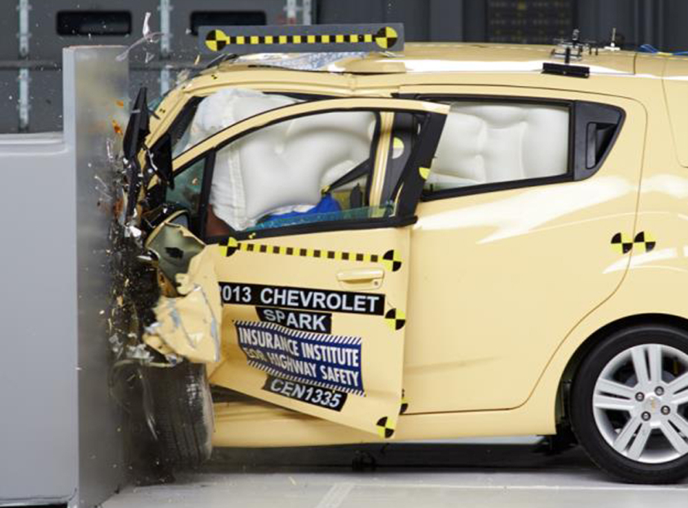 "The Chevrolet Spark was the only mini-car tested to earn an ""acceptable"" rating in the Insurance Institute for Highway Safety's test. None of the cars earned the highest rating."