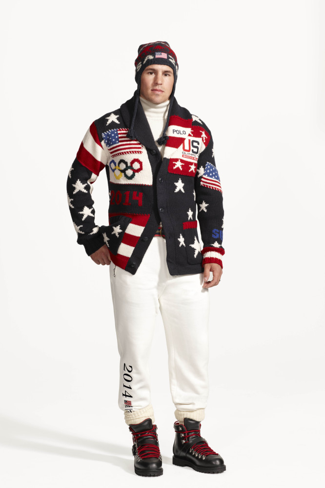 American hockey player Zach Parise wears the official uniform for Team USA to be worn at the opening ceremony for the 2014 Winter Olympic games in Sochi, Russia.