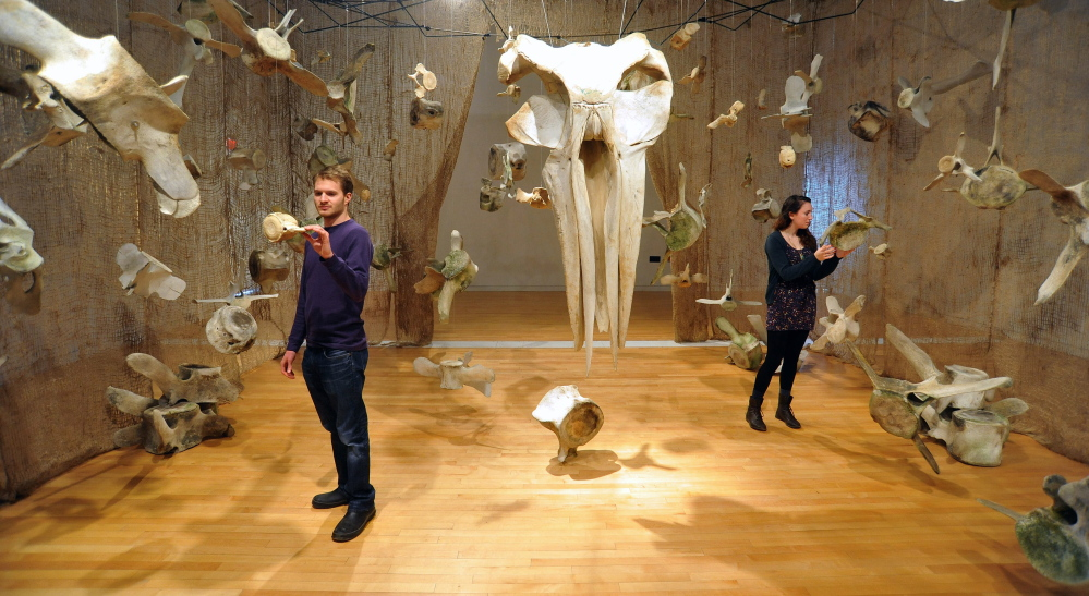 AMID THE BONES: University of Maine at Farmington students Josh Rose, 22, and Emily Sirianni, 19, inspect whale bones on display Friday in the Flex Space at the Emery Community Arts Center at the University of Maine at Farmington. The exhibit includes the bones of whales native to the Gulf of Maine. Visitors are encouraged to touch and move pieces in the hands-on exhibit.