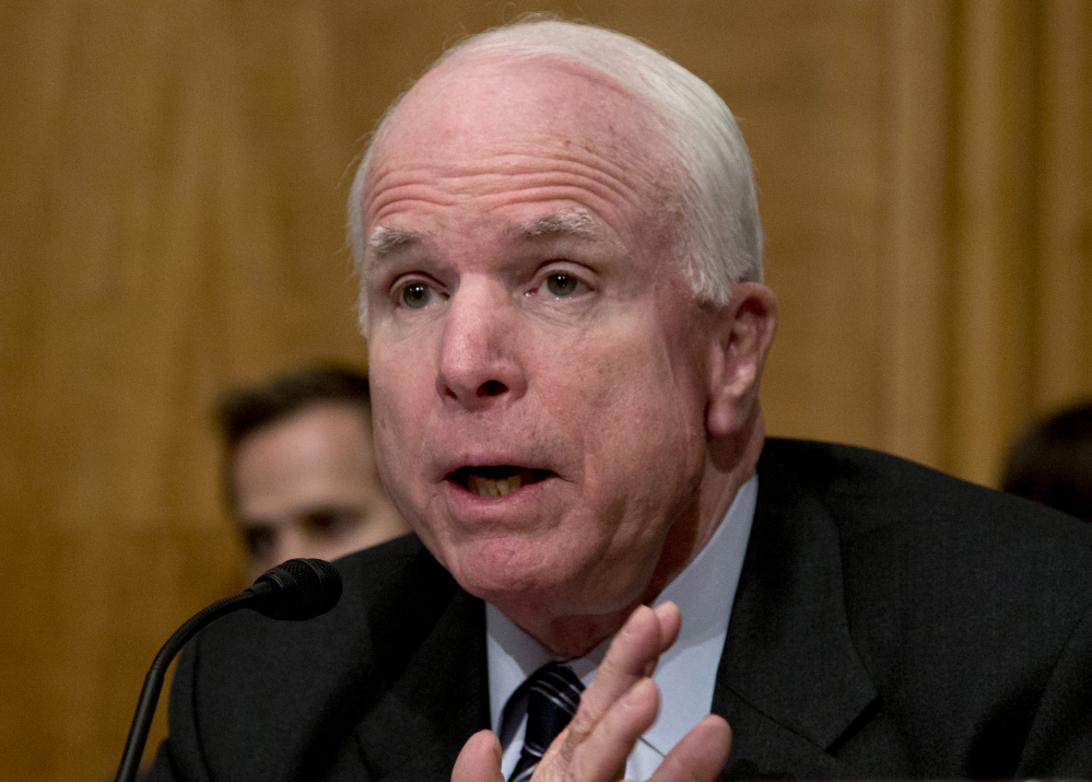The Associated Press In this Nov. 13, 2013 file photo, Sen. John McCain, R-Ariz. speaks on Capitol Hill in Washington.