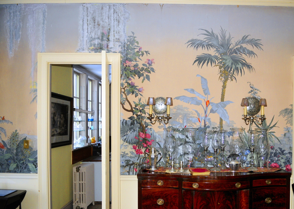 water damage from ice dams in the tropical wallpaper of the dining room in the Daniel Cony Weston House on Stone Street on Thursday January 23, 2014 that's home to the Elsie & William Viles Foundation in Augusta.