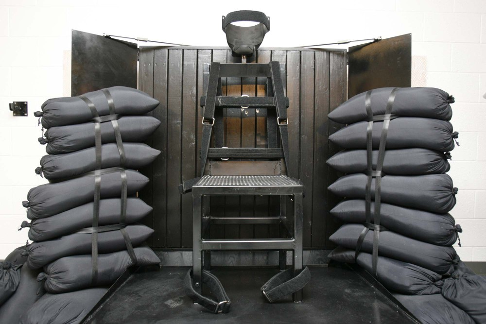 In this June 18, 2010, file photo, the firing squad execution chamber at the Utah State Prison in Draper, Utah, is shown. With lethal-injection drugs in short supply and new questions looming about their effectiveness, lawmakers in some death penalty states are considering bringing back relics of a more gruesome past, including firing squads.