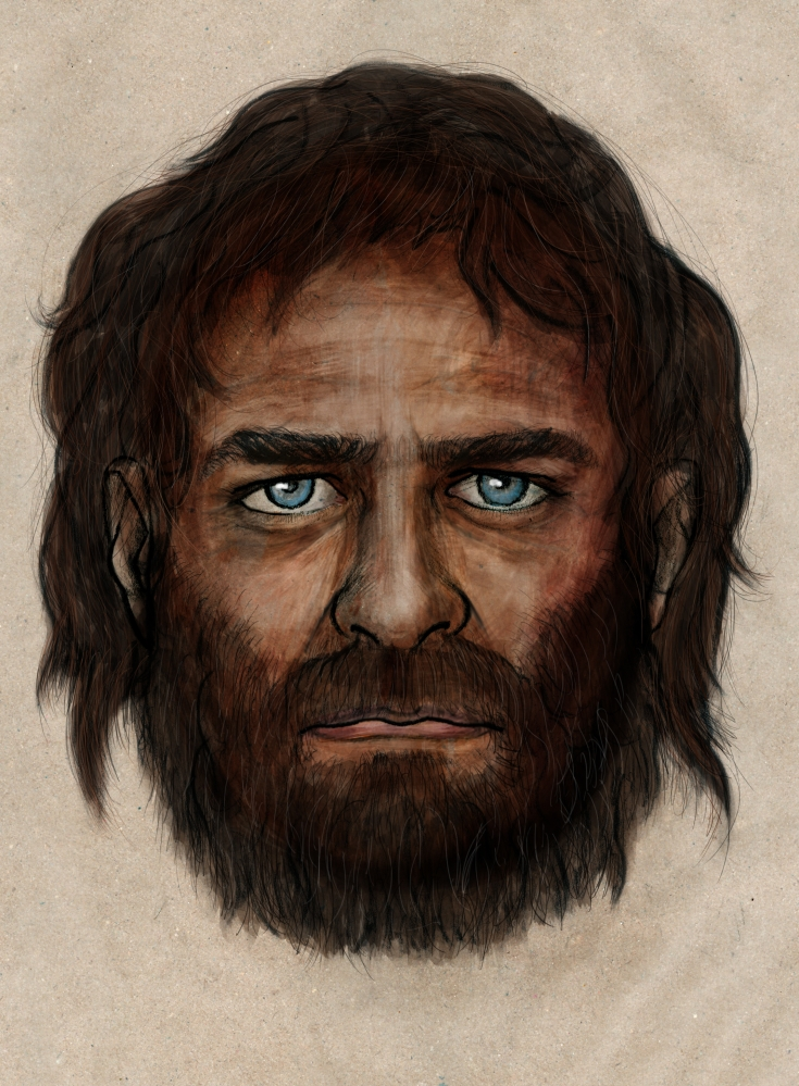 This drawing provided by the Spanish National Research Council depicts a hunter-gatherer who lived in Europe some 7,000 years ago, who might have had blue eyes and dark skin, a combination that has largely disappeared from the continent in the millennia since.