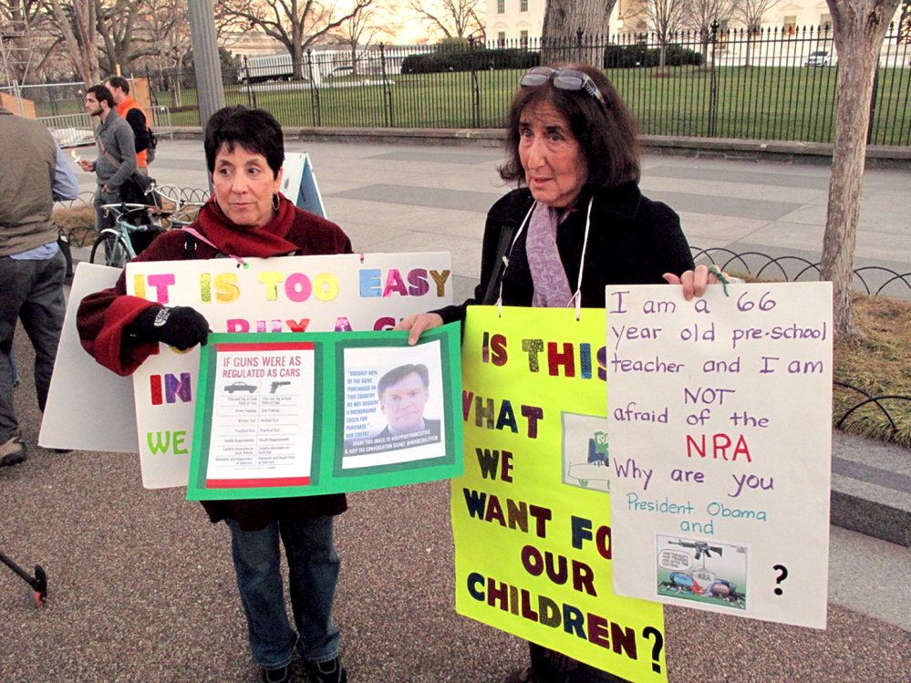 "www.brogi.info/ Linda Finkel-Talvadkar, left, and Barbara Elsas, both of whom identified as ""children of the '60s,"" regularly set up camp outside the White House on Mondays and talk to passers-by about the need to urge politicians to revisit gun laws. The two women, along with a handful of others, have been doing this ever since the July 2012 shooting spree in Aurora, Colo."
