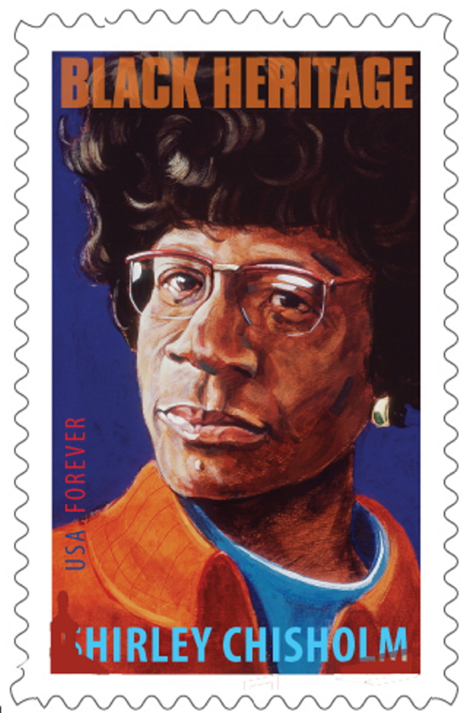 Robert Shetterly created the image of Shirley Chisholm that now graces a stamp, above, in the Postal Service's Black Heritage Series.