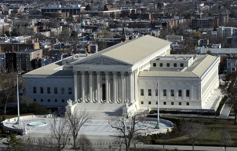 In this Dec. 19, 2013 file photo, a view of the Supreme Court can be seen from the view from near the top of the Capitol Dome on Capitol Hill in Washington.