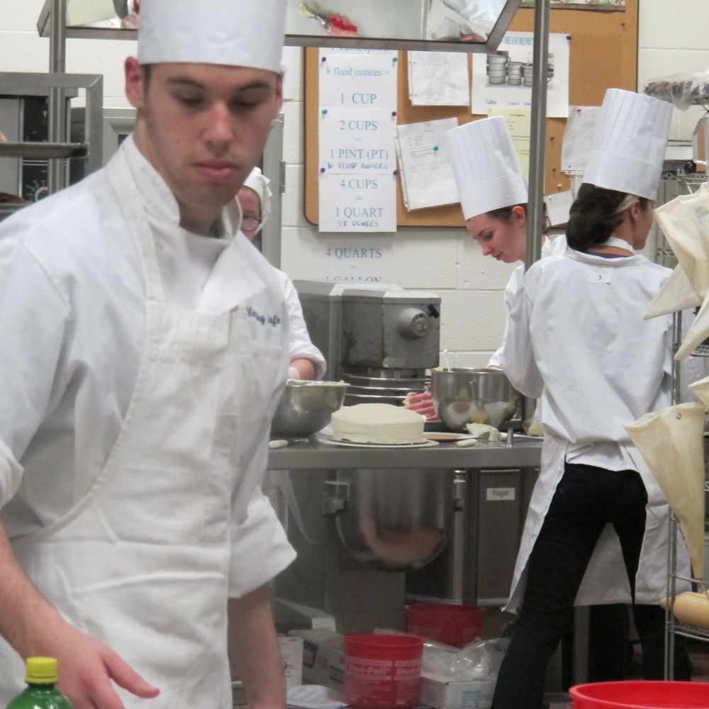 Gold medalist: Keelan DeVogt, culinary arts student, prepares a dish during the Local Skills Championships at Mid-Maine Technichal Center.
