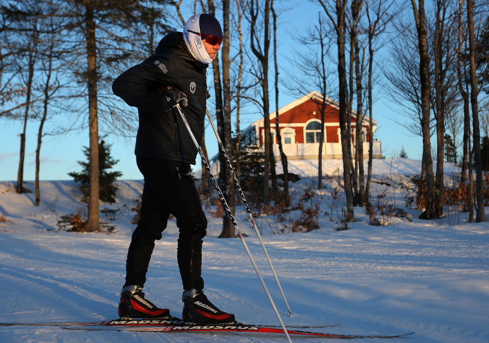 Will Sweetser works with a ski team in Presque Isle last week. Sweetser helped train Currier when he was in the Maine Winter Sports Center's program.