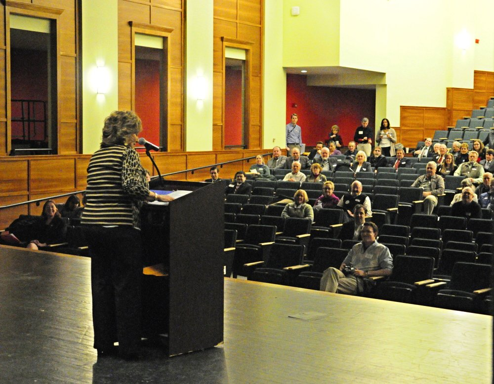 It's my party: First Lady Anne LePage speaks during the Kennebec County Republican Caucus on Saturday at Cony High School in Augusta.