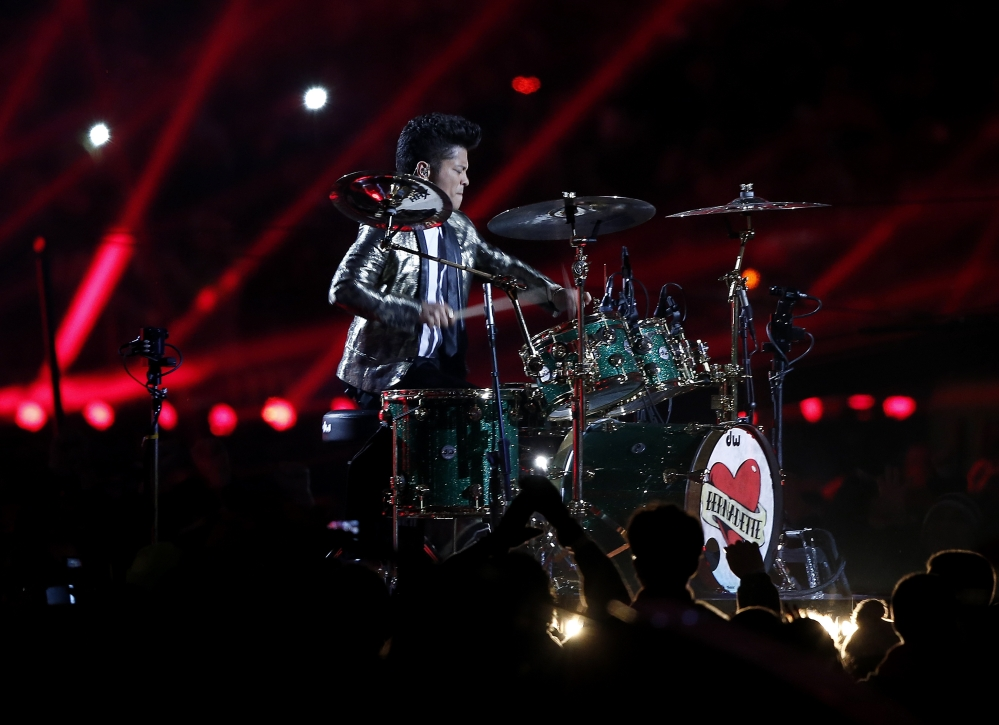 Bruno Mars performs during the halftime show of the NFL Super Bowl XLVIII football game between the Seattle Seahawks and the Denver Broncos Sunday.