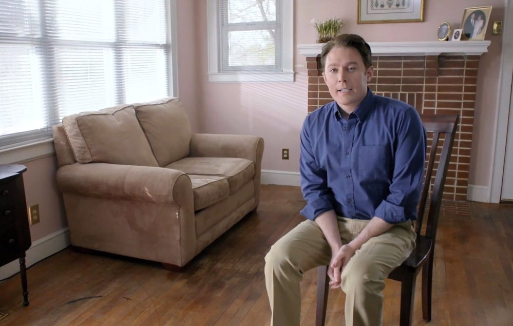 This screen image is from a video in which Clay Aiken announces his bid to run for Congress in North Carolina.