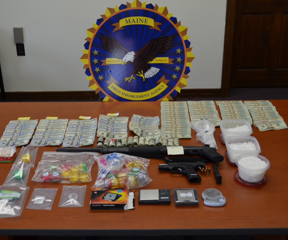 Police seized more than 3 pounds of the synthetic hallucinogen known as bath salts, cash and weapons from a home in Aroostook County.