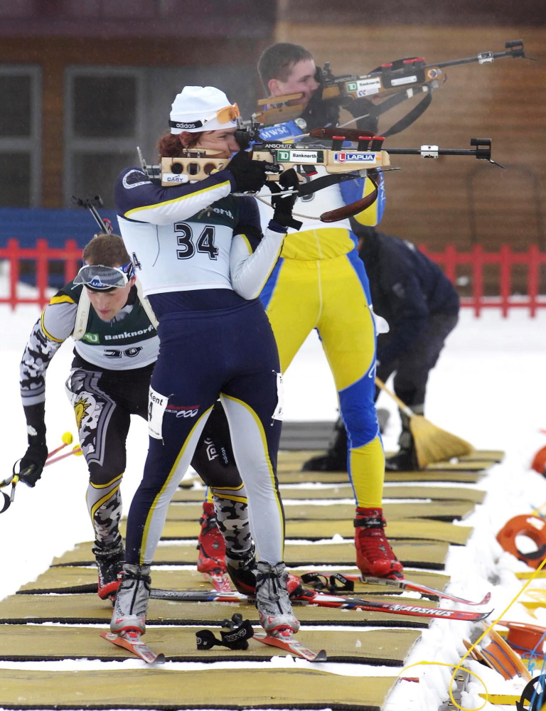 Russell Currier of Stockholm competes in a past biathlon championship held by the Maine Winter Sports Center in Fort Kent. Center officials emphasize that their purpose goes beyond training world-class athletes to benefiting communities and encouraging young athletes.