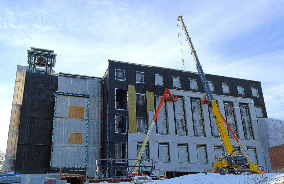 Courthouse progress: Construction work continues on Thursday at the new court building in Augusta.