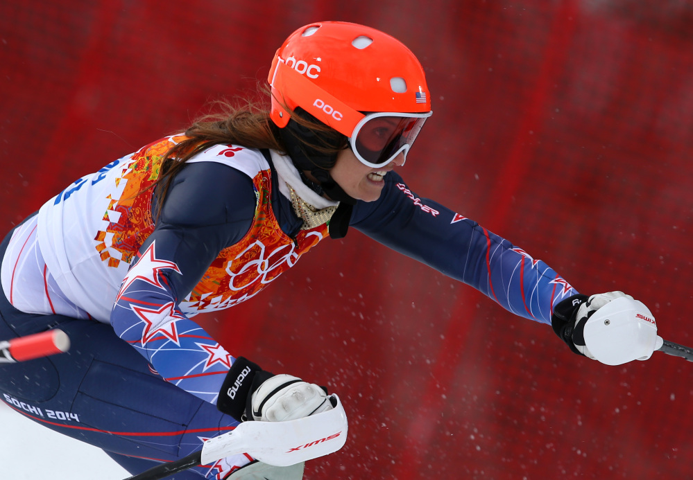 Julia Mancuso of the United States competes in the slalom portion of the women's supercombined to win the bronze medal in the Sochi 2014 Winter Olympics on Monday.