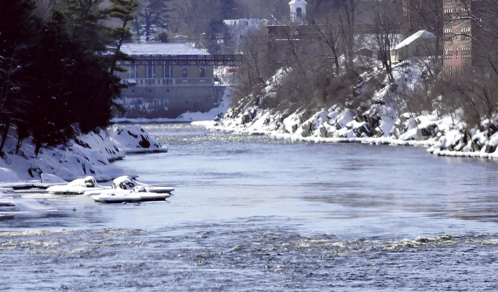 WET AND WILD: The Kennbec Gorge as seen from the Eddy toward downtown Skowhegan, where a water park for recreational boaters is being planned.