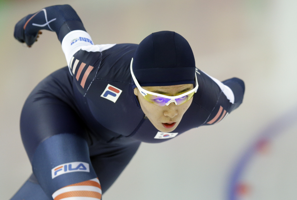 South Korea's Lee Sang-hwa skates her way to gold during the women's 500-meter speedskating race at the Adler Arena Skating Center during the 2014 Winter Olympics, Tuesday, in Sochi, Russia.
