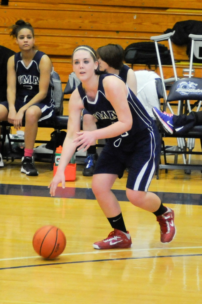 LEADER: Haley Madore, a Winslow graduate, has been a leader for the University of Maine at Augusta's women's basketball team. Madore, who has a full courseload, plays basketball and has a full-time job, is scheduled to graduate in May.
