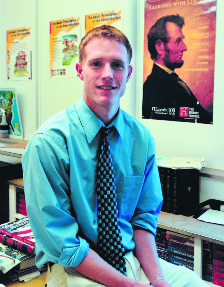 Original: Morning Sentinel staff photo HOME AGAIN: Luke Hartwell grew up in Bingham and attended area schools before going to college in New Hampshire. Hartwell has returned to his hometown and now teaches government and history classes at Upper Kennebec Valley Area High School.
