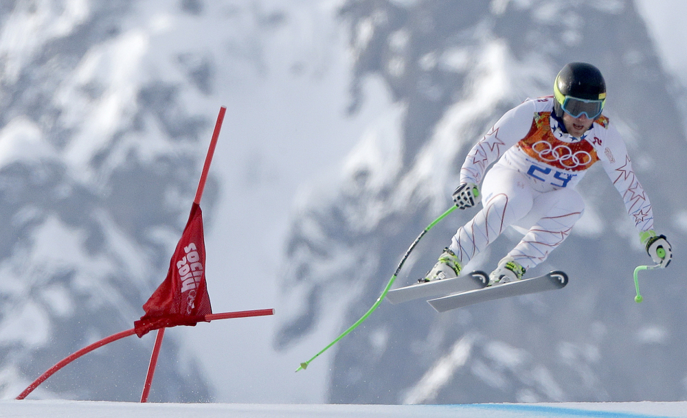 United States' Andrew Weibrecht makes a jump to win the silver medal in the men's super-G.