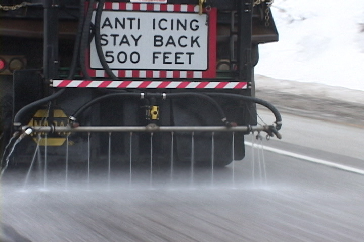 treating roads: A state Department of Transportation truck pre-wets a road by spraying salt brine, which is rock salt dissolved in water.
