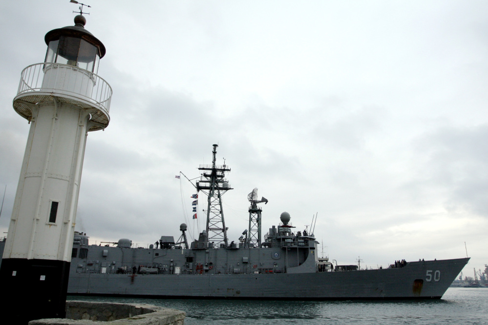 The U.S. Navy ship USS Taylor enters the Black Sea port of Varna, Bulgaria. The ship is being inspected for damage after it ran aground at a Turkish port last week.
