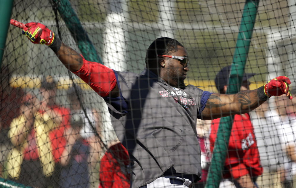 AP photo WANTING TO STAY: Boston Red Sox designated hitter David Ortiz takes batting practice during spring training Tuesday in Fort Myers, Fla. Ortiz wants a one-year contract extension and to retire with the Red Sox.