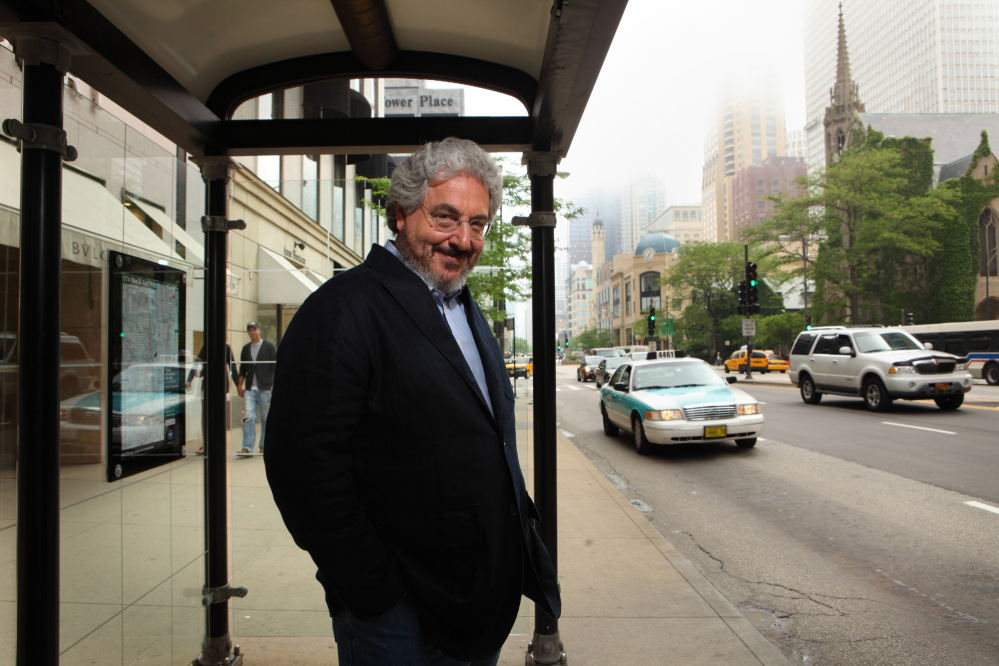Film director Harold Ramis stands on North Michigan Avenue in Chicago.