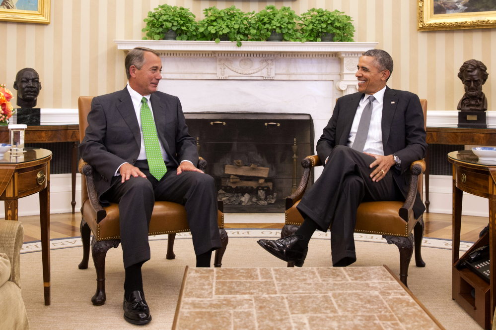 President Barack Obama meets with House Speaker John Boehner in the Oval Office of the White House Tuesday. The two last met in December 2012.